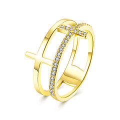 preiswerte Ringe-Damen Kubikzirkonia Bandring - Zirkon, Kubikzirkonia, Kupfer Kreuz Luxus, Europäisch, Modisch 6 / 7 / 8 Rose / Golden Für Hochzeit / Party / Normal / Diamantimitate