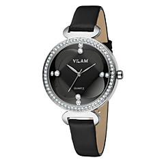 Vilam Dames Polshorloge Modieus horloge Kwarts Waterbestendig Leer Band Luxe Glitter Wit