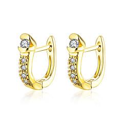 tanie Biżuteria damska-Kolczyk Cyrkonia Cyrkon Miedź Pozłacane Gold Biżuteria Na Codzienny Casual 1 para
