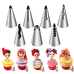 7PCS Stainless Steel Russian Nozzles Pastry Bobbi Skirt Cake Nozzles Decoration Piping  Wedding Cake Decorating Icing
