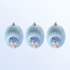 voordelige -3 stks kerst decoratie schattige sneeuwpop patroon blauwe kleur bal