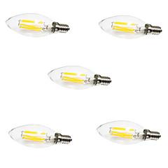 preiswerte LED-Birnen-5 Stück 6W 560lm E14 LED Glühlampen C35 6 LED-Perlen COB Dekorativ Warmes Weiß / Kühles Weiß 220-240V / RoHs