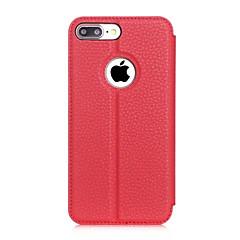 Для Кейс для iPhone 7 / Кейс для iPhone 7 Plus со стендом / с окошком / Флип Кейс для Чехол Кейс для Один цвет Твердый Искусственная кожа
