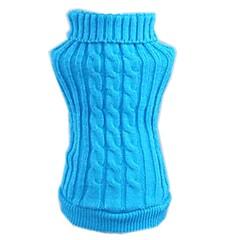 お買い得  猫の服-ネコ 犬 セーター 犬用ウェア ソリッド レッド ブルー アクリル繊維 コスチューム ペット用 男性用 女性用 カジュアル/普段着