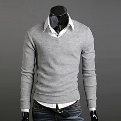 cheap Men's Sweaters & Cardigans-Men's Daily / Weekend Solid Colored Long Sleeve Slim Regular Pullover, V Neck Fall / Winter Brown / Wine / Light gray L / XL / XXL