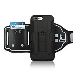 olcso iPhone 5 tokok-Case Kompatibilitás Apple iPhone 5 tok iPhone 6 iPhone 7 Kártyatartó Állvánnyal Felkarkötő Karpánt Tömör szín Kemény PC mert iPhone 7