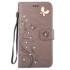 For iPhone X iPhone 8 iPhone 7 iPhone 6 iPhone 5 Case Case Cover Wallet Card Holder Rhinestone with Stand Flip Embossed Full Body Case