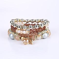 preiswerte Armbänder-Damen Perlenbesetzt Mehrschichtig Strang-Armbänder Armband - Harz Mehrlagig Armbänder Kaffee / Rot / Blau Für Herzliche Glückwünsche Geschäft Geschenk