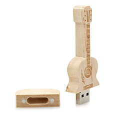 מוצרים Neutral Wooden Guitar 16GB USB 2.0 עמיד לזעזועים