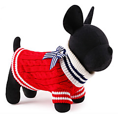 Cat Dog Sweater Dog Clothes Cute Christmas New Year's Color Block Red Blue Costume For Pets