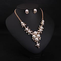 Dames Sieraden Set Ketting / Oorbellen Bruids Modieus Bruiloft Feest Dagelijks Parel Gesimuleerde diamant Oorbellen Kettingen