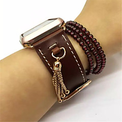 cheap New Arrivals-Watch Band For Apple Watch 3 Classic Buckle Genuine Leather Replacement Band with Pendant Tassel