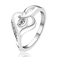 Dame Ring Kærlighed Hjerte luksus smykker Zirkonium Kvadratisk Zirconium Plastik Sølvbelagt Smykker Til Bryllup Fest Daglig Afslappet