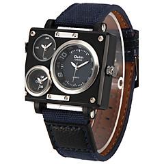 preiswerte Tolle Angebote auf Uhren-Oulm Herrn Militäruhr Armbanduhr Quartz Drei-Zeit-Zonen Cool Stoff Band Analog Freizeit Weiß / Blau / Braun - Schwarz Kaffee Blau