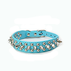 Dog Collar Adjustable / Retractable Studded Rock PU Leather Dark Blue Brown Red Blue Pink