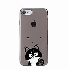 Недорогие Кейсы для iPhone 7 Plus-Кейс для Назначение Apple iPhone X iPhone 8 Кейс для iPhone 5 iPhone 6 iPhone 7 Прозрачный С узором Кейс на заднюю панель Кот Мягкий ТПУ
