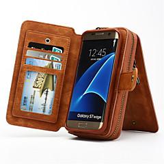 halpa Galaxy S6 kotelot / kuoret-Etui Käyttötarkoitus Samsung Galaxy Samsung Galaxy S7 Edge Korttikotelo Lomapkko Tuella Flip Suojakuori Yhtenäinen väri Kova aitoa nahkaa