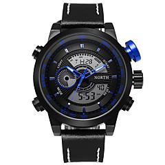 preiswerte Tolle Angebote auf Uhren-Herrn Quartz Armbanduhr / Militäruhr / Sportuhr Kalender / Wasserdicht / Cool / Stopuhr / Duale Zeitzonen / leuchtend Leder Band Luxus /