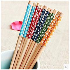Environmental Art Chopsticks  Japanese Style Suit  Chopsticks  Creative Printing Bamboo Tableware  Five Small Suihua  (Random Colour)