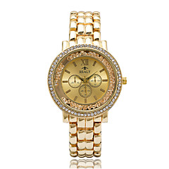 billige Elegante ure-Dame Modeur Armbåndsur Casual Ur Ur m. flydende krystal Quartz Imiteret Diamant Rhinsten / Legering Bånd Afslappet Elegante Sej Sølv Guld