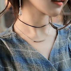 billige Damesmykker-Dame Rhinsten Kort halskæde Tatovering Choker - Unikt design Tatovering Basale Akryl Multi-bæremåder beklædning Dobbeltlags Sølv Gylden
