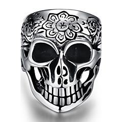 Кольцо Нержавеющая сталь В форме черепа Панк Серебряный Бижутерия Halloween Повседневные Спорт 1шт