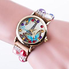 preiswerte Damenuhren-Damen Quartz Armband-Uhr / Armbanduhren für den Alltag Leder Band Freizeit Eiffelturm Modisch Schwarz Weiß Rot Braun Rosa Khaki
