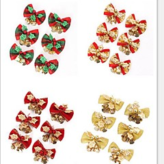 6PCS / 설정 빨간색 크리스마스 귀여운 나비 나무에 매달려 장식 크리스마스 bowknot 장식 금속 벨 크리스마스 5 * 4cm