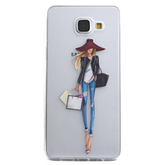 voordelige Galaxy A5 Hoesjes / covers-hoesje Voor Samsung Galaxy A5(2016) A3(2016) Transparant Patroon Achterkantje Sexy dame Zacht TPU voor A5(2016) A3(2016)