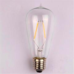 preiswerte LED-Birnen-1pc 2W 200lm E26 / E27 LED Glühlampen ST58 2 LED-Perlen COB Dekorativ Warmes Weiß 220-240V