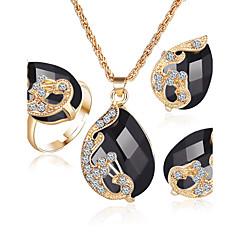 voordelige Sieradensets-Dames Kristal Synthetische Diamant Synthetische Smaragd Synthetische Sapphire Kristal Strass Verguld Legering Bruiloft Feest Ringen 1