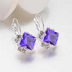 preiswerte Ohrringe-Damen Kristall Synthetischer Diamant Tropfen-Ohrringe Kreolen - Krystall, versilbert Blume Modisch Rot / Blau / Rosa Für Hochzeit Party Alltag