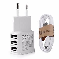 EU csatlakozó US dugasz Telefon USB töltő Multi port 100 cm Outlets 3 USB port 2.1A AC 100V-240V