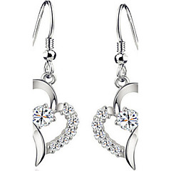 billige Drop Øreringe-Dame Dråbeøreringe Kvadratisk Zirconium Kærlighed Mode luksus smykker Europæisk kostume smykker Sølv Zirkonium Kvadratisk Zirconium