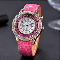 お買い得  レディース腕時計-女性用 リストウォッチ フロートクリスタル腕時計 クォーツ ラインストーン クール / レザー バンド ハンズ ヴィンテージ カジュアル ファッション ブラック - Brown レッド グリーン