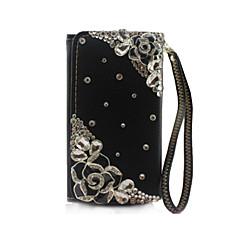 tanie Uniwersalne etui i pokrowce-Rhinestone flower design pu przypadku leahter portfel dla Samsung Galaxy S6 / s6 krawędzi