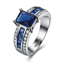 Női Gyűrű Kocka cirkónia Szerelem luxus ékszer Divat jelmez ékszerek Cirkonium Réz Strassz Titanium Acél Square Shape Geometric Shape