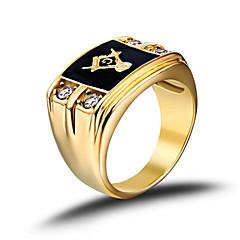 Męskie Obrączki Modny Kamienie zodiakalne biżuteria kostiumowa Stal nierdzewna Kryształ górski Imitacja diamentu Biżuteria Na Ślub