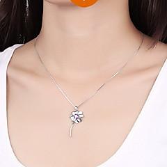 Кулоны В форме цветка Крестообразной формы Четырехлистный клевер Стерлинговое серебро Циркон Цирконий Базовый дизайн Уникальный дизайн