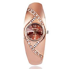 preiswerte Damenuhren-Damen Modeuhr Armbanduhr Quartz Imitation Diamant / Rose Gold überzogen Legierung Band Analog Freizeit Elegant Braun / Rotgold - Rotgold