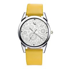 voordelige Dameshorloges-V6 Dames Kwarts Polshorloge Dress horloge Waterbestendig / PU Band Bloem Informeel Modieus Zwart Bruin