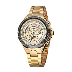 お買い得  大特価腕時計-WINNER 男性用 リストウォッチ 機械式時計 自動巻き ゴールド 30 m 耐水 透かし加工 光る ハンズ ぜいたく ヴィンテージ - ホワイト ブラック ゴールド / シルバー / ステンレス / 速度計