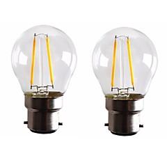 お買い得  LED 電球-ONDENN 2pcs 2W 160-200lm B22 フィラメントタイプLED電球 G45 2 LEDビーズ COB 調光可能 温白色 110-130V 220-240V