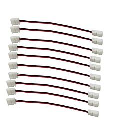 billige LED-tilbehør-10stk / pak strimmel at fratage med wire loddefri snap ned 2pin dirigent førte stribe stik 8mm brede 3528 2835 enkelt farve flex førte