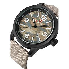 お買い得  メンズ腕時計-NAVIFORCE 男性用 リストウォッチ / 軍用腕時計 / スポーツウォッチ カレンダー / 耐水 / クール 生地 バンド ブラック / グリーン / ベージュ