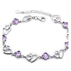 cheap Bracelets-Women's Crystal Sterling Silver Crystal Chain Bracelet - Basic Love Fashion Jewelry Purple Bracelet For Wedding Party Gift