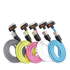 geassorteerde kleuren appel mfi gecertificeerd 30pin naar USB data sync lader platte kabel voor iPhone 4 / 4s / ipad 3/2/1 / ipod (100cm)