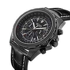 お買い得  大特価腕時計-MEGIR 男性用 リストウォッチ クォーツ 30 m カレンダー レザー バンド ハンズ ヴィンテージ ブラック / ブラウン - ブラック ブラック ホワイト / ベージュ