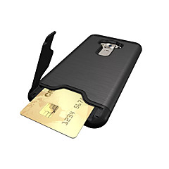お買い得  その他のケース-ケース 用途 Asus カードホルダー 耐衝撃 スタンド付き バックカバー 純色 ハード PC のために Asus ZenFone 3 (ZE552KL)(5.5)