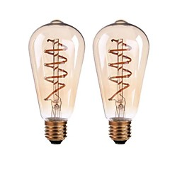 preiswerte LED-Birnen-ONDENN 2pcs 4W 400lm E26 / E27 B22 LED Glühlampen ST64 4 LED-Perlen COB Abblendbar Warmes Weiß 110-130V 220-240V